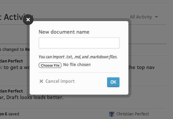 Importing options