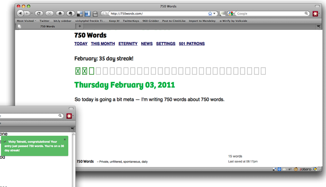 750Words.com Writing Screen